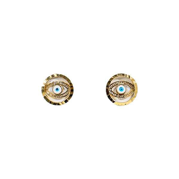 14kt Yellow Gold Evil Eye Baby Earrings-lirysjewelry