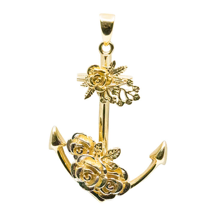 14kt Yellow Gold Anchor Charm With Fancy Flowers 2.9g-pendant charm-lirysjewelry