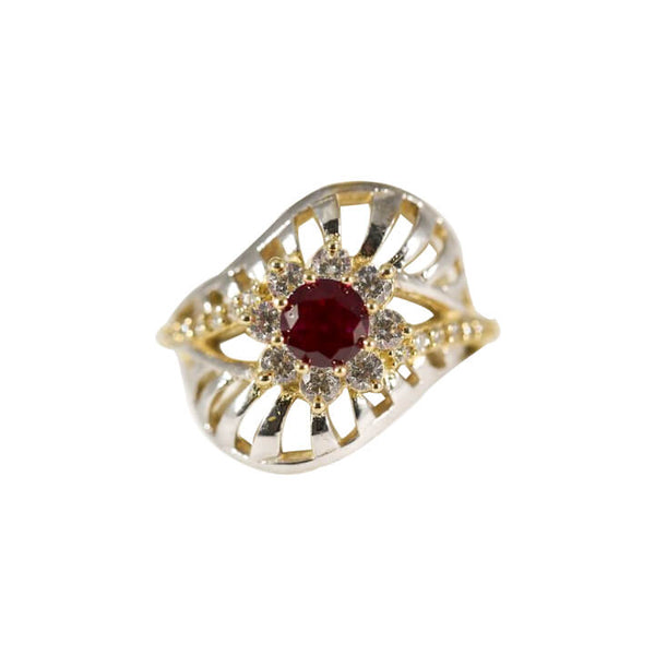 10kt Two-Tone CZ Women Fancy Ring-ring-lirysjewelry