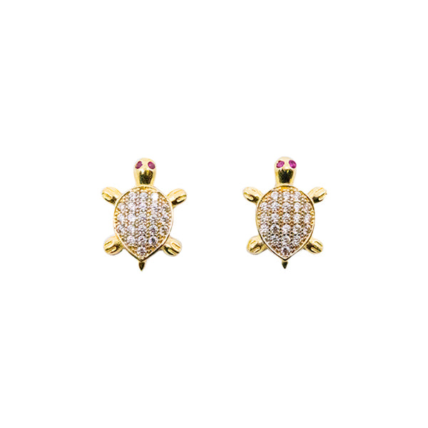 "14kt Yellow Gold ""Turtle"" CZ Baby Earring 1.7g-lirysjewelry"