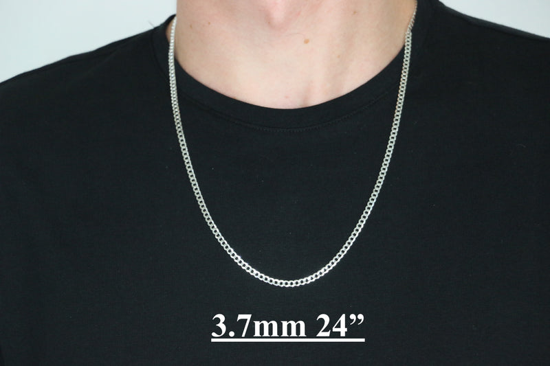 Genuine 925 Sterling Silver Curb Link Necklaces & Chains-lirysjewelry