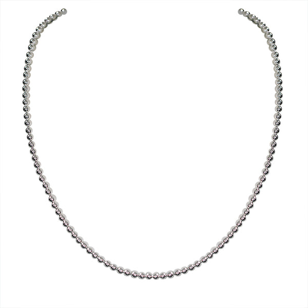 Genuine 925 Sterling Silver Bead Necklace and Chain Solid Jewelry-Silver-lirysjewelry