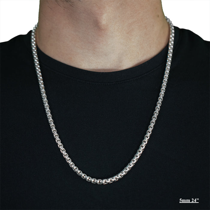 Sterling Silver Box Necklaces & Chains-Silver-lirysjewelry