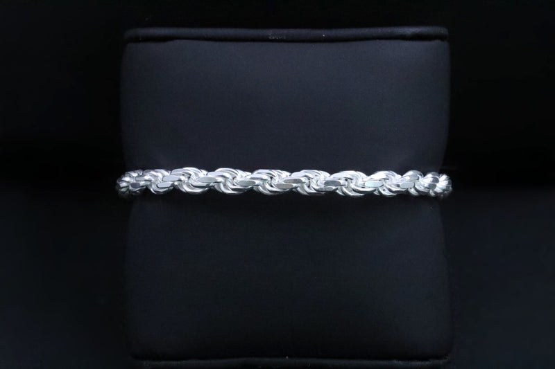 Genuine 925 Sterling Silver Diamond Cut Rope Anklets-lirysjewelry