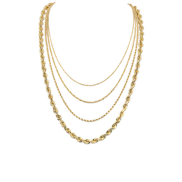 Solid Gold Diamond Cut Rope Necklace-lirysjewelry