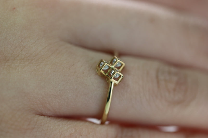 10KT YELLOW GOLD WOMEN CZ CUBES RING 1.2GR-ring-lirysjewelry