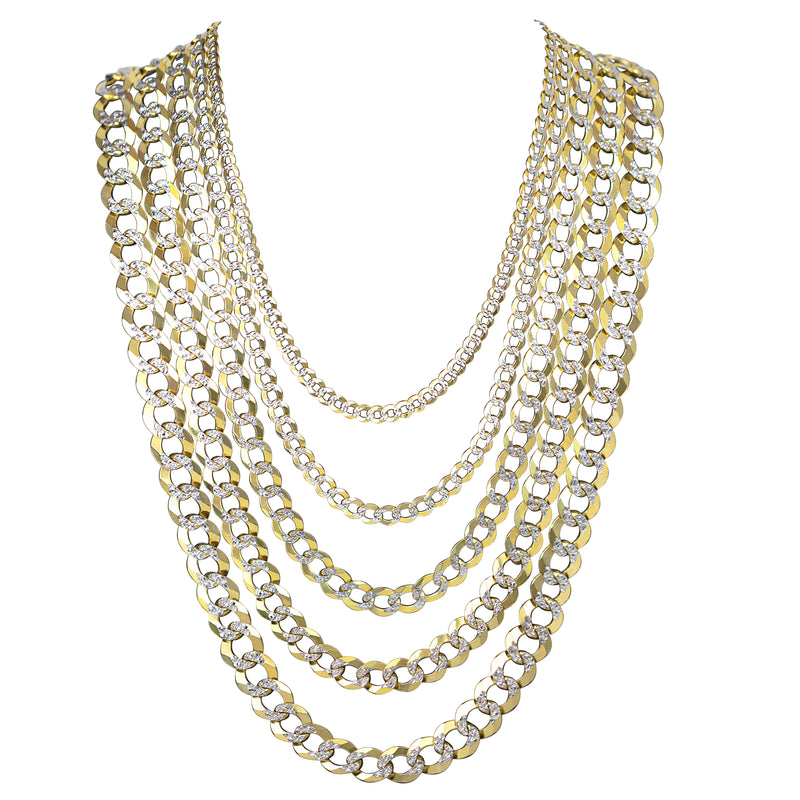 10kt Solid Pave Curb Link Necklaces-lirysjewelry