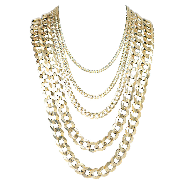 14kt Solid Curb Link Necklaces-lirysjewelry
