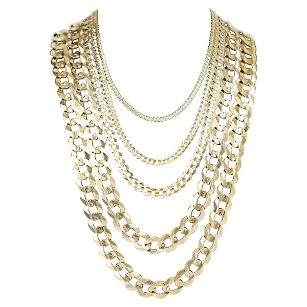 10kt Solid Curb Link Necklaces-lirysjewelry