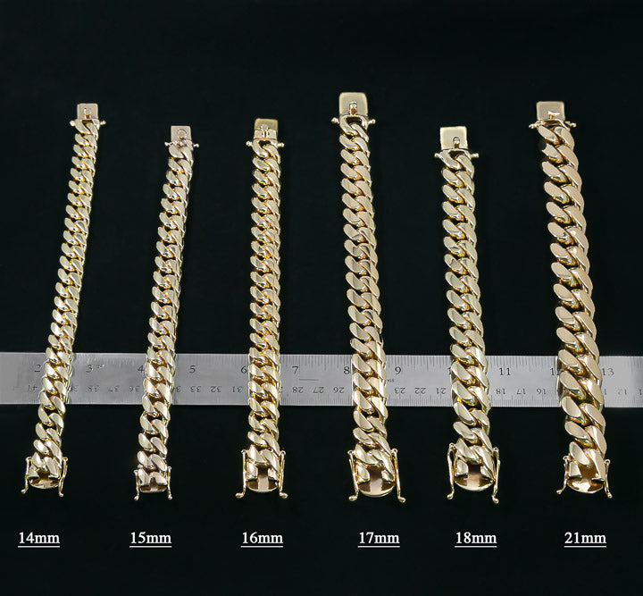 Solid Gold Handmade Miami Cuban Link Bracelets 10kt 14kt 18kt 22kt 24kt-Miami Cuban Link-lirysjewelry