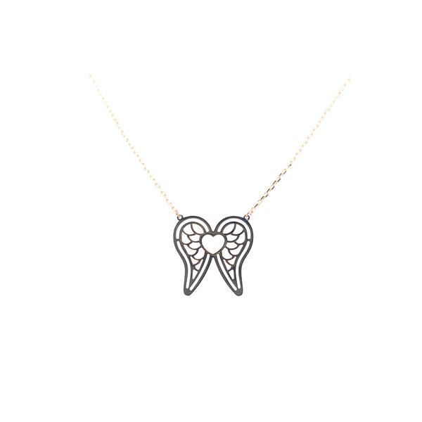 10kt wing heart necklace charm 1.5g-Charm chain combo-lirysjewelry