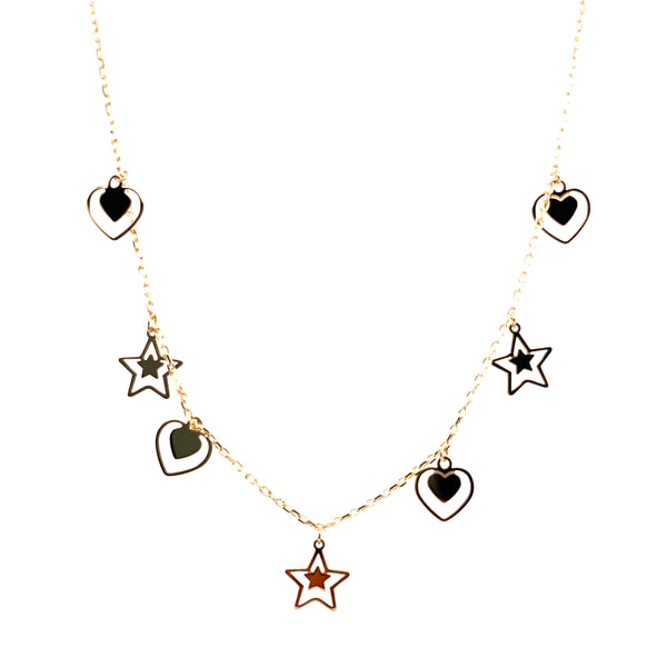10k double heart double star charm necklace 1.7g-Charm chain combo-lirysjewelry