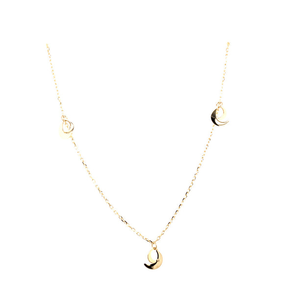 10kt double moon necklace charm 1.5g-Charm chain combo-lirysjewelry