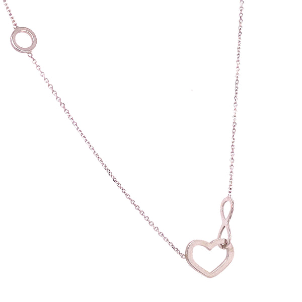 925 Sterling Silver Cut Out Heart & Infinity Sign Charm & Chain-lirysjewelry