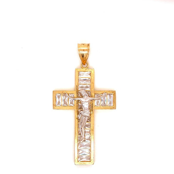 10KT SOLID YELLOW GOLD CROSS WITH CUBIC ZIRCONIAS 10.5 GRAMS-pendant charm-lirysjewelry