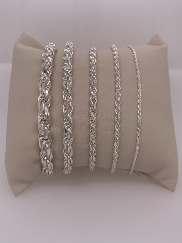 Genuine 925 Sterling Silver Diamond Cut Rope Bracelet-lirysjewelry