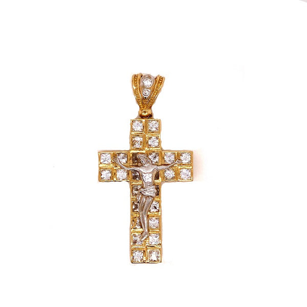 10KT SOLID YELLOW GOLD CROSS WITH CUBIC ZIRCONIAS 15.6 GRAMS-pendant charm-lirysjewelry