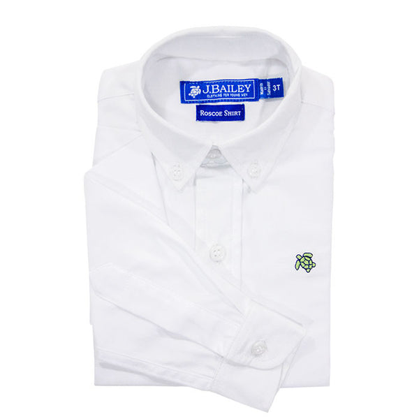 White Oxford Boys Button Down Roscoe Shirt