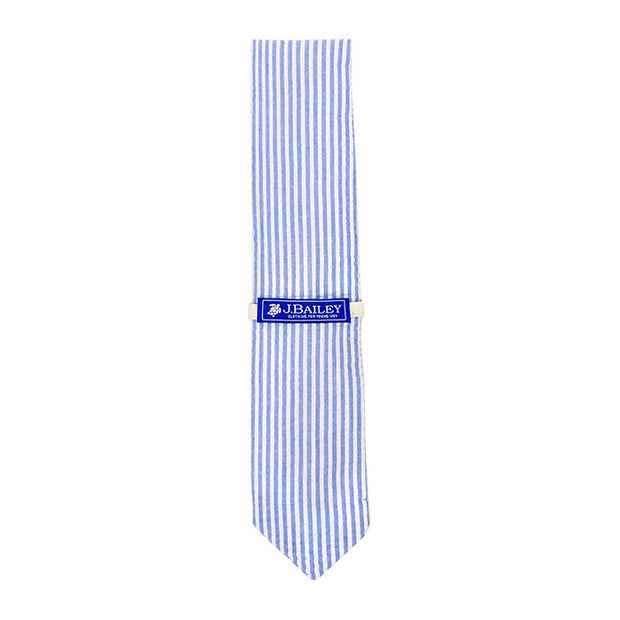 Bailey Long Tie-Sailor Blue Seersucker
