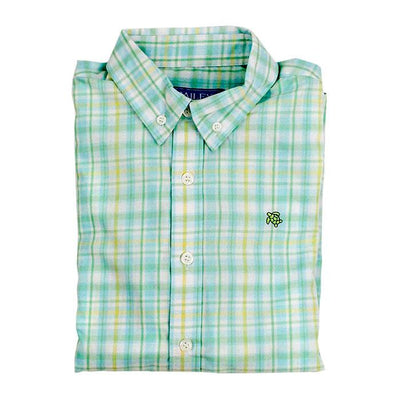 Roscoe Button Down Shirt-Seafoam Plaid