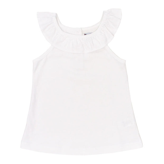 Girls Ruffle Collar Top-White