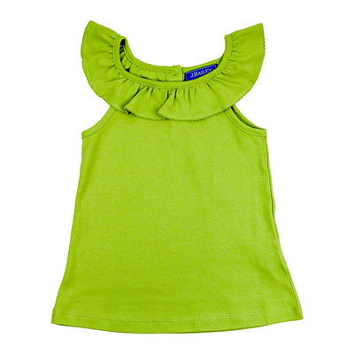 Girls Ruffle Collar Top-Lime