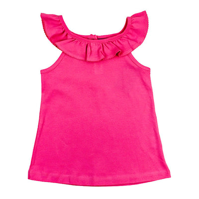 Girls Ruffle Collar Top-Medium Pink