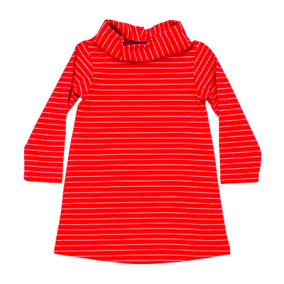 Cowl Neck Dress-Coral Stripe