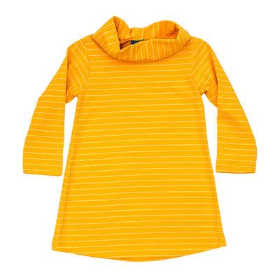 Cowl Neck Dress-Mustard Stripe