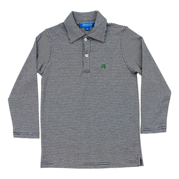 Harry Long Sleeve Polo-Navy and White Stripe