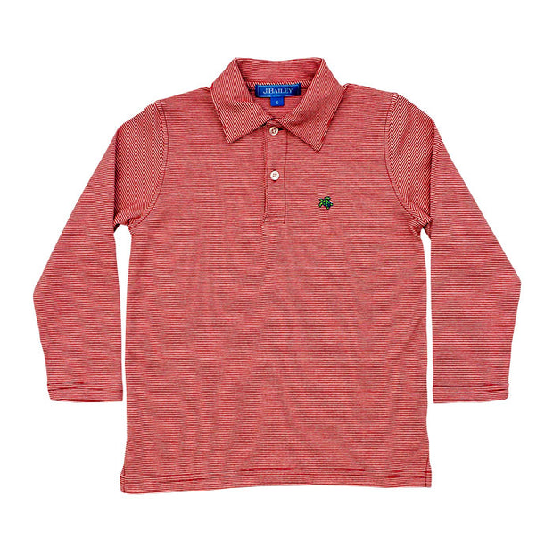 Harry Long Sleeve Polo-Red and White Stripe