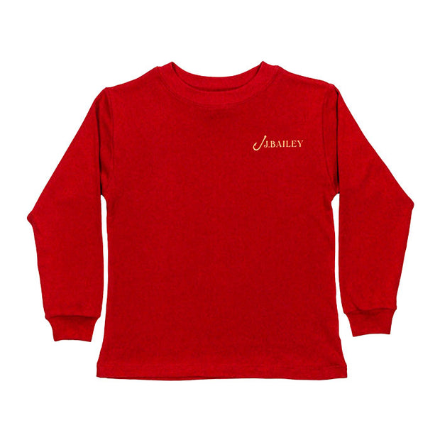 J. Bailey Logo Tee-Candy Cane on Red