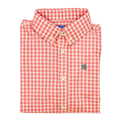 Roscoe Button Down Shirt-Pumpkin Windowpane