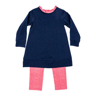Tunic Legging Set-Navy & Pink Diamond