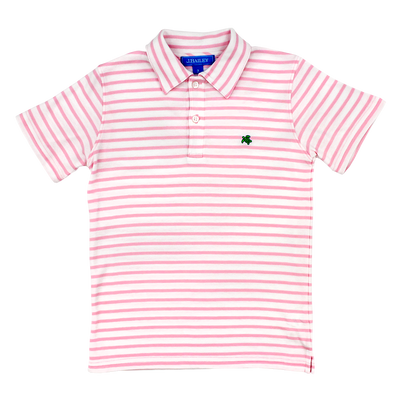 Henry Short Sleeve Stripe Polo- Pink/White