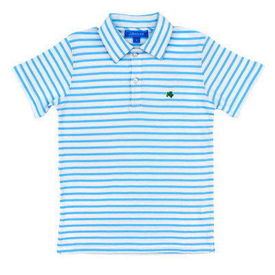 Henry Short Sleeve Stripe Polo- Blue/White