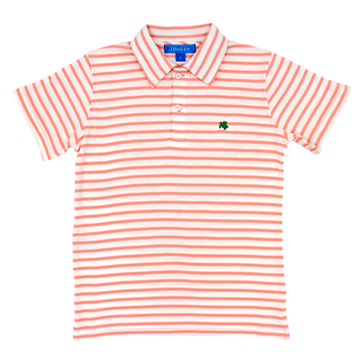 Henry Short Sleeve Stripe Polo- Coral/White
