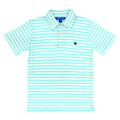 Henry Short Sleeve Stripe Polo- Seaglass/White
