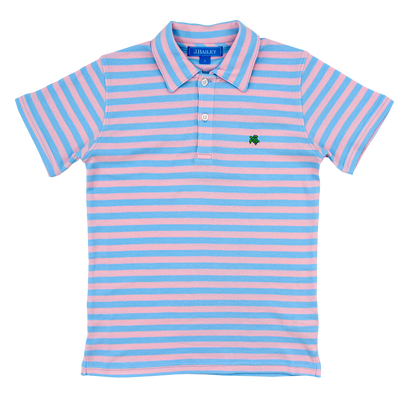 Henry Short Sleeve Stripe Polo- Blue/Pink