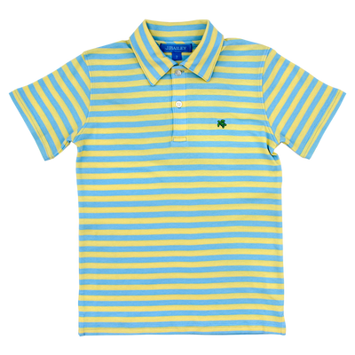 Henry Short Sleeve Stripe Polo- Blue/Yellow