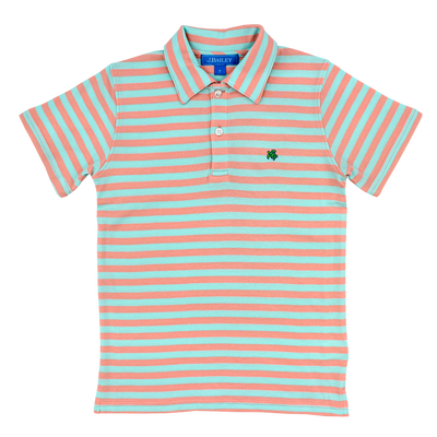 Henry Short Sleeve Stripe Polo- Coral/Mint