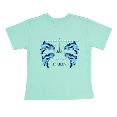 J. Bailey Short Sleeve Logo Shirt-Fish with Hook on Seaglass
