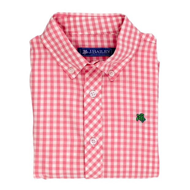 Roscoe Button Down Shirt-Pink Gingham