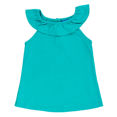 Girls Ruffle Collar Top- Pool