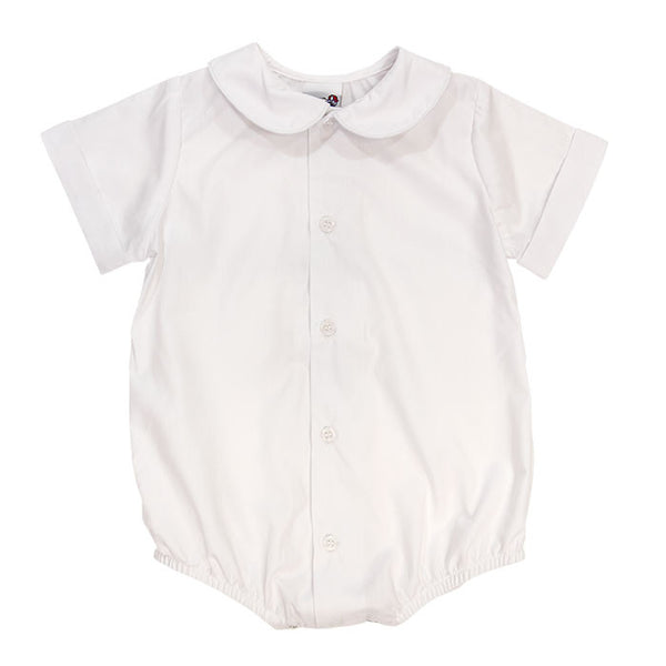 Boys Piped Button Front Short Sleeve Onesie White Bailey Boys