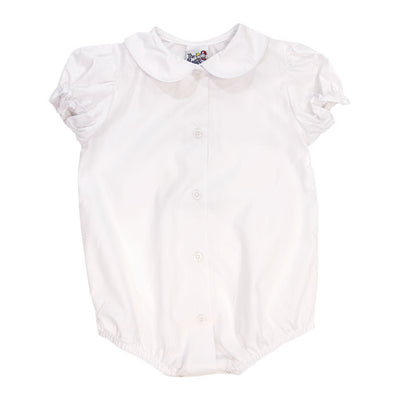 Girls Short Sleeve Piped Button Front Onesie-White