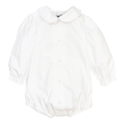 Girls Long Sleeve Piped Button Front Onesie-White