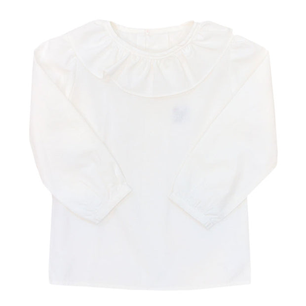 Girls Button Back Shirt with Ruffle-White
