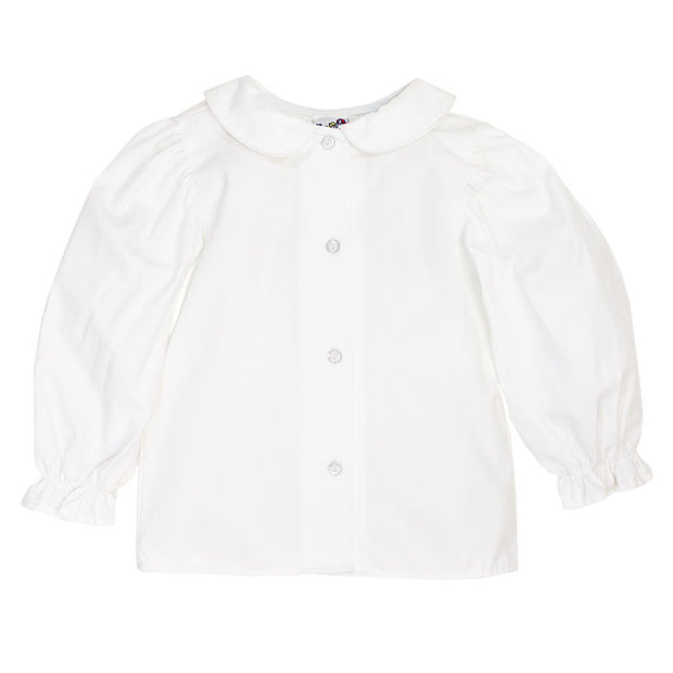Girls Long Sleeve Piped Button Front Shirt-White