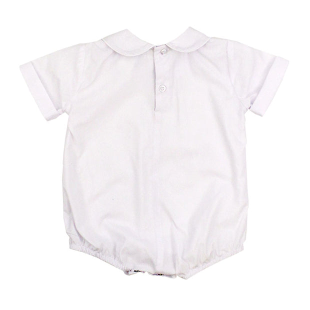 Button Back Boys Short Sleeve Piped Onesie - White